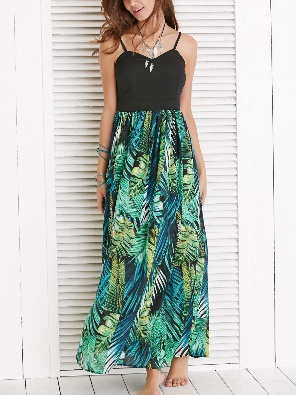Alluring Spaghetti Strap Leaf Print Dress - BLACKISH GREEN XL