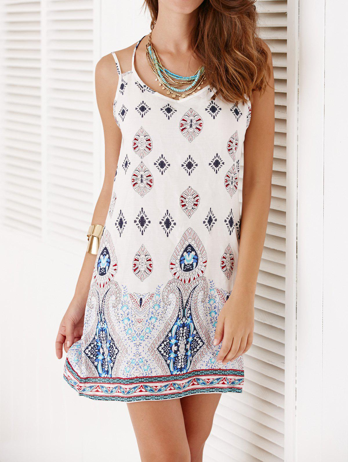 Backless Spaghetti Strap Tribal Print Dress - WHITE XL