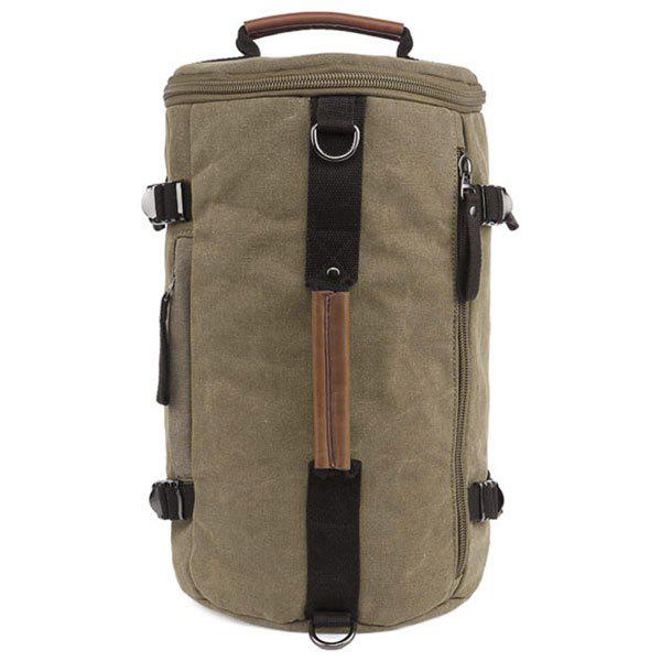 Leisure Zippers and Canvas Design Men's Backpack - KHAKI