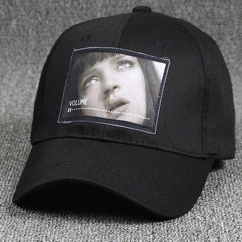 Personality 3D Girl Face Image Media Player Shape Applique Summer Baseball Hat - BLACK