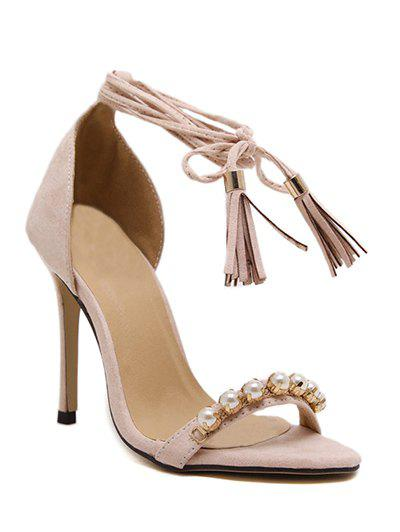 Stylish Tassel and Beading Design Womens SandalsShoes<br><br><br>Size: 39<br>Color: APRICOT