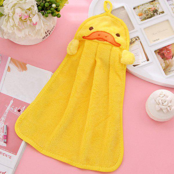 Soft Coral Fleece Kitchen Candy Colors Yellow Duck Cartoon Rubbing Towel - YELLOW
