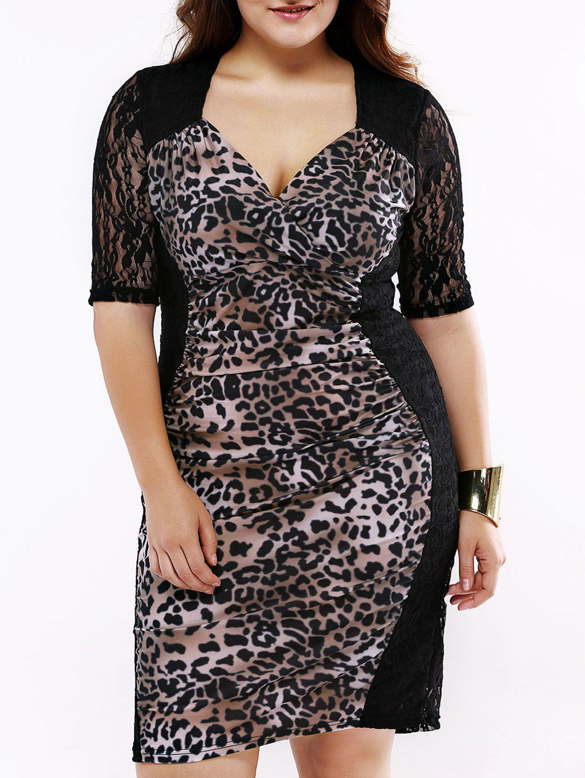Alluring Plunging Neck Lace leopard Print Dress For Women