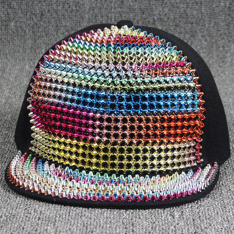 Stylish Colorful Rivet Embellished Nightclub Hip Hop Street Performance Women's Baseball Cap - COLORFUL