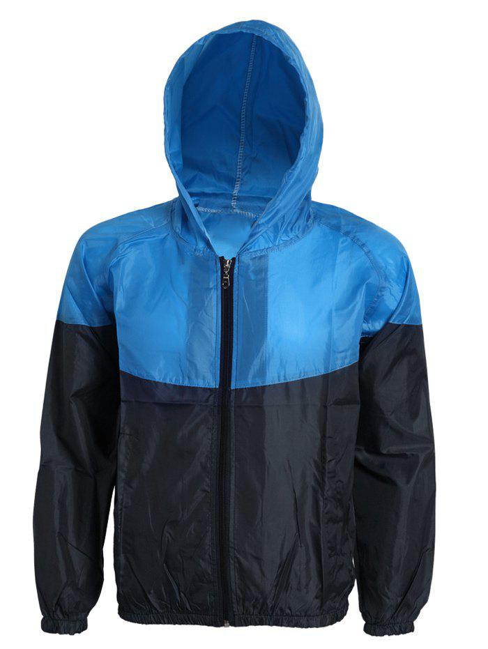 Active Hit Color Zip Opening Hooded Thin Jacket For Men - BLUE/BLACK L