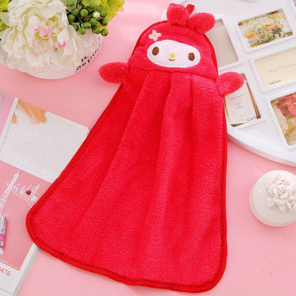 Soft Coral Fleece Kitchen Candy Colors Red Rabbit Cartoon Rubbing Towel