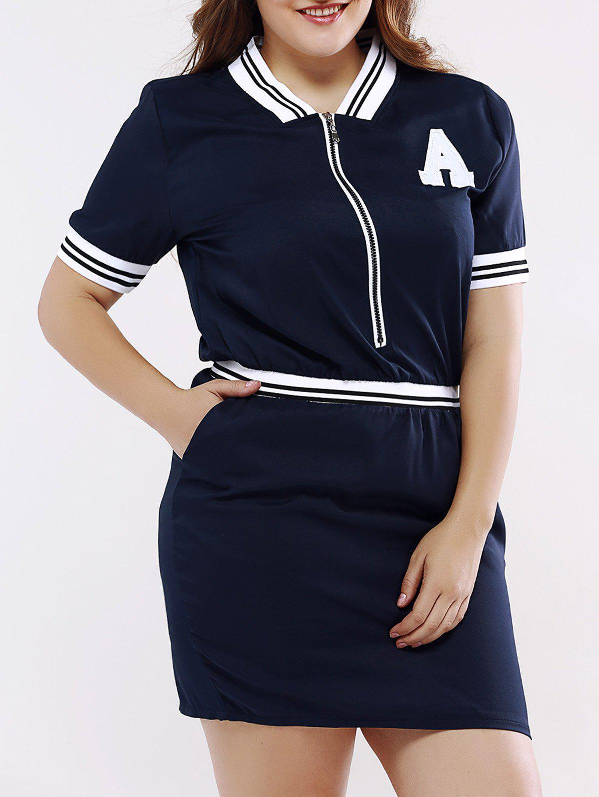 Casual Stand Collar Front Zipped Dress For Women - DEEP BLUE 5XL