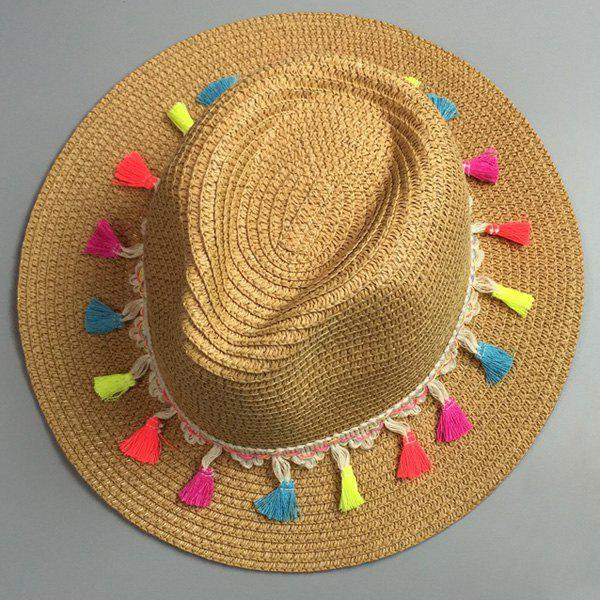 Panama Style Colorful Tassel Pendant Lace-Up Embellished Women's Summer Straw Hat - LIGHT COFFEE