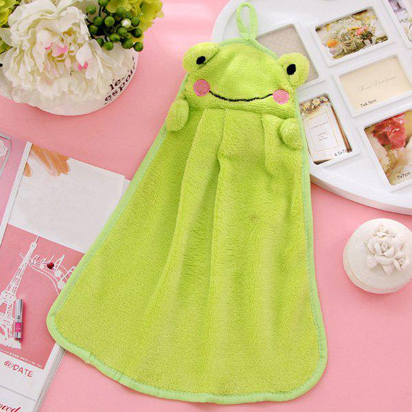 Soft Coral Fleece Kitchen Candy Colors Green Frog Cartoon Rubbing Towel - EMERALD