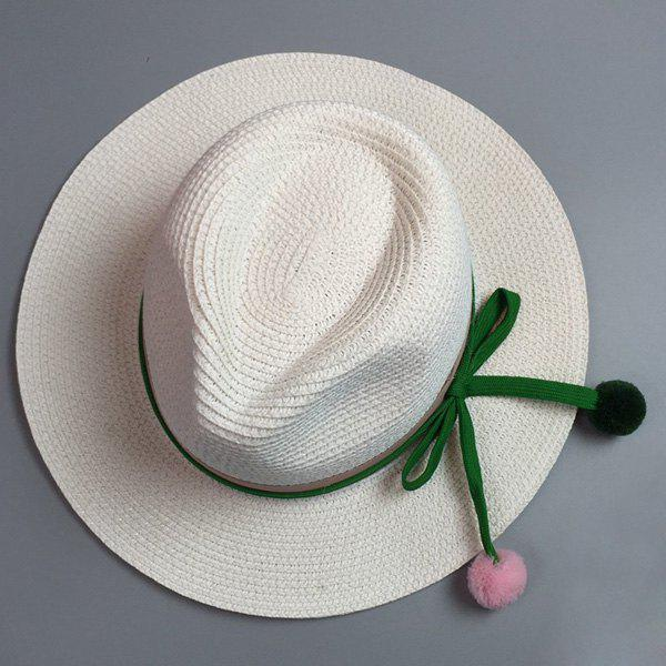 Panama Style Small Pompon Pendant Lace-Up Embellished Women's Summer Straw Hat