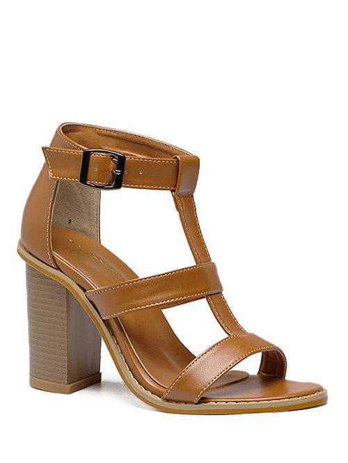 Rome T-Strap and Chunky Heel Design Women's Sandals - BROWN 39