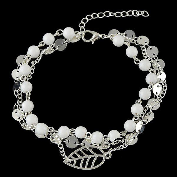 Hollowed Leaf Beads Layered Necklace - SILVER