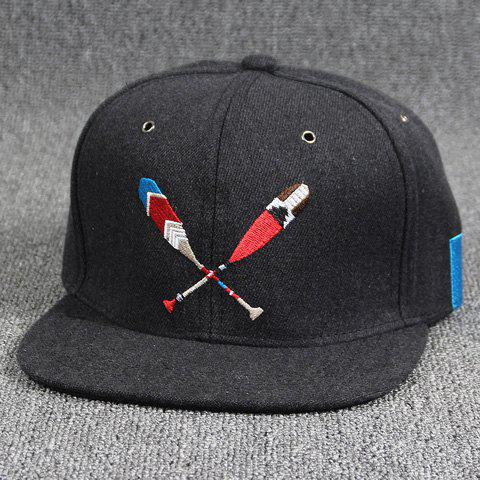 Cool Summer Baseball Bat Embroidery Hip Hop Street Performance Black Baseball Cap - BLACK