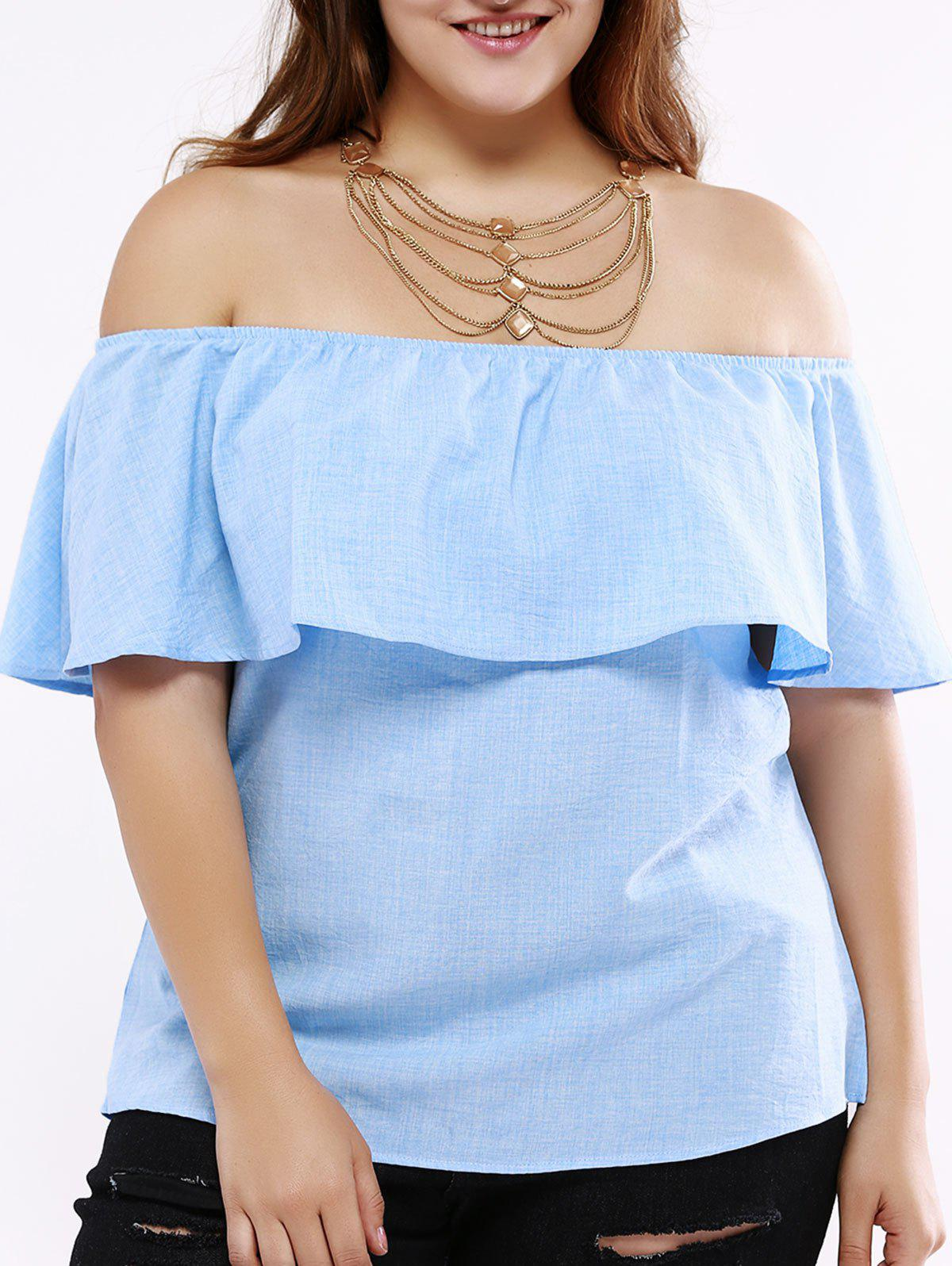 Fashionable Off-The-Shoulder Overlay Blouse For Women - LIGHT BLUE 6XL