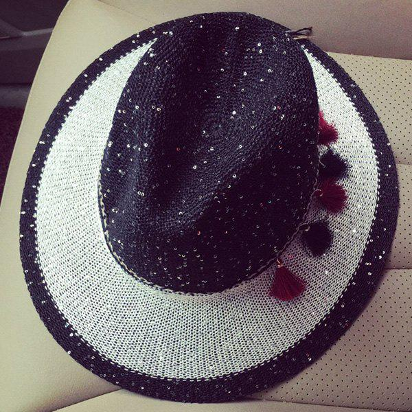 Panama Style Tassel Pendant Lace-Up Sequins Embellished Summer Travelling Women's Sun Hat - BLACK