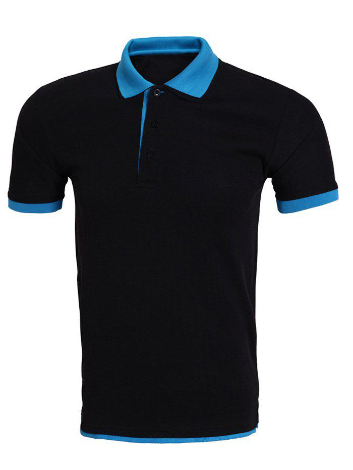 Brief Style Color Block Splicing Polo T-Shirt For Men - BLUE/BLACK 2XL