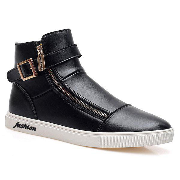 Trendy Double Zipper and Black Color Design Men's Casual Shoes - BLACK 43