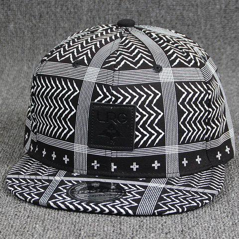 Cool Summer Square Labelling Embellished Stripe and Chevron Pattern Baseball Cap - BLACK