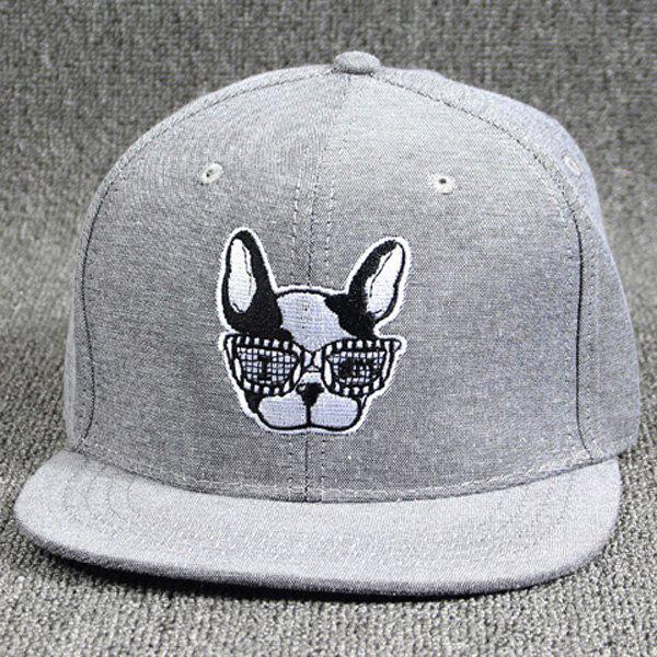 Cool Summer Modern Spectacled Small Dog Head Embroidery Baseball Cap For Women - GRAY