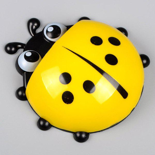 Combination Suit Strong Chuck Cute Animals Ladybird Beetle Toothbrush Rack - YELLOW