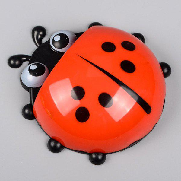 Combination Suit Strong Chuck Cute Animals Ladybird Beetle Toothbrush Rack - RED