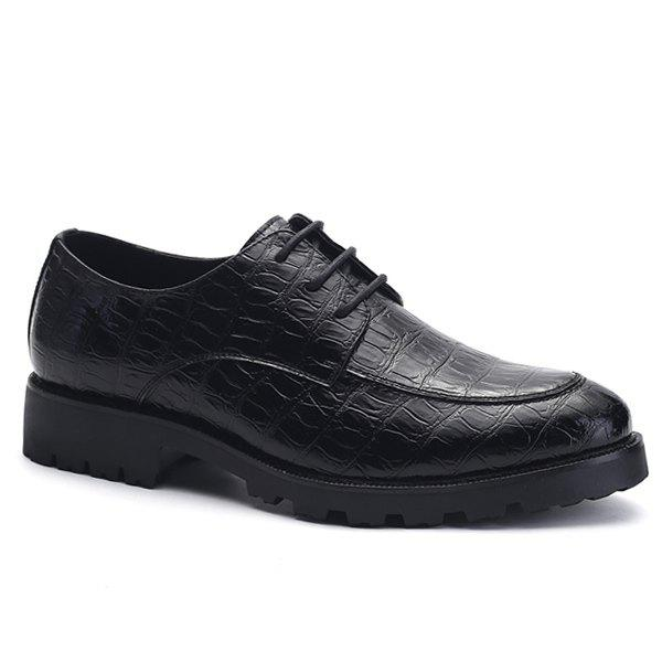Stylish Black and Embossing Design Men's Formal Shoes - BLACK 43