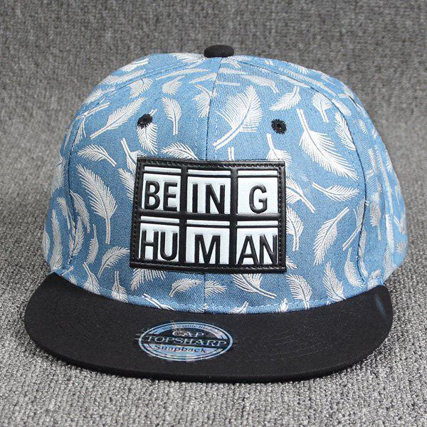 Cool Summer Plaid Letters Labelling Embellished Feather Pattern Baseball Cap - LIGHT BLUE