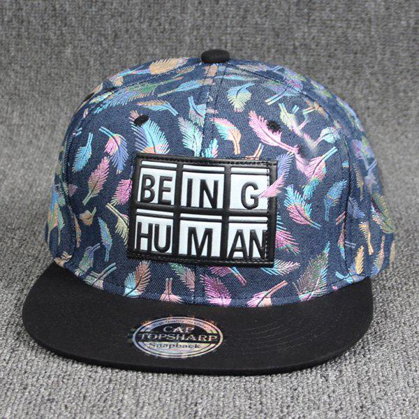 Cool Summer Plaid Letters Labelling Embellished Colorful Feather Pattern Baseball Cap