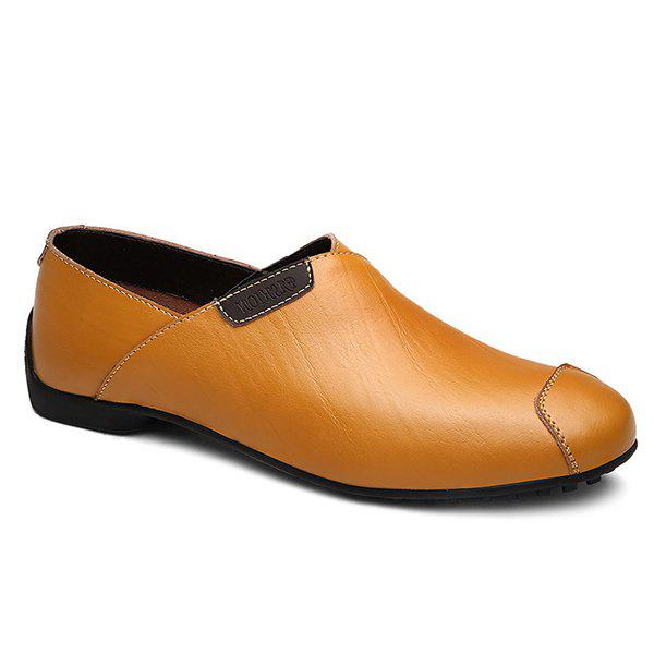 Stylish Color Splicing and PU Leather Design Men's Casual Shoes - YELLOW 43
