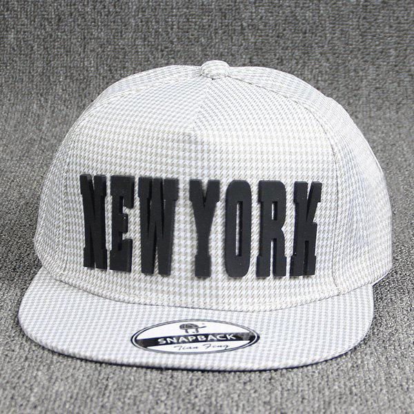 Cool Summer Cut Out Letter Rubber Embellished Houndstooth Pattern Baseball Cap - OFF WHITE