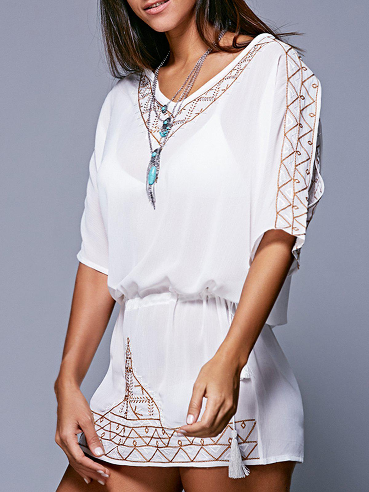 Bohemian Style Embroidery Lace-Up Cover-Up - WHITE XL