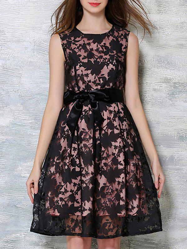 Bowknot Decorated Sleeveless Dress - BLACK/PINK XL