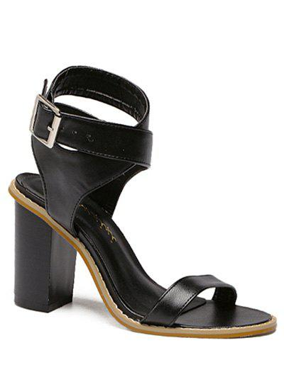 Vintage Cross-Strap and Chunky Heel Design Women's Sandals