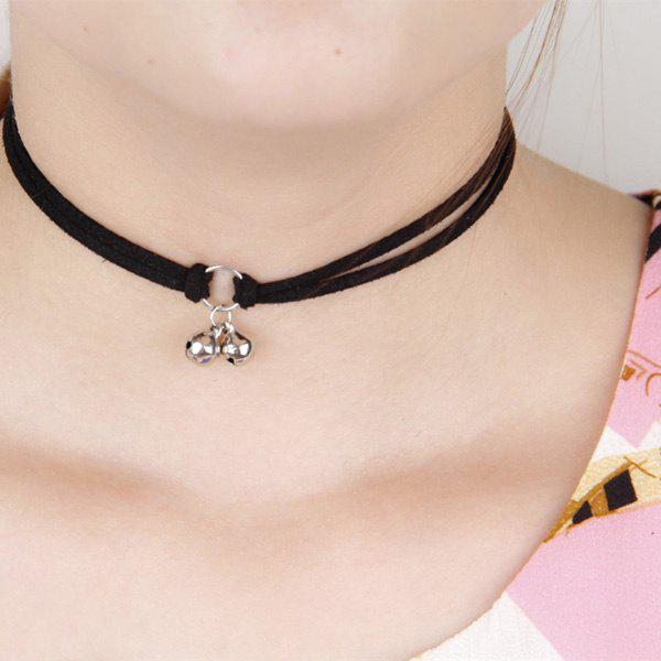 Vintage Multilayered Faux Suede Jingle Bell Choker Necklace For Women - BLACK