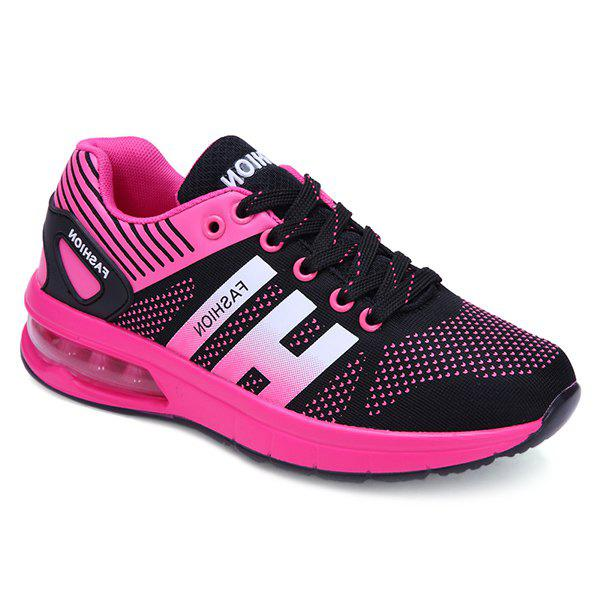 Trendy Tie Up and Breathable Design Women's Athletic Shoes - 39 BLACK