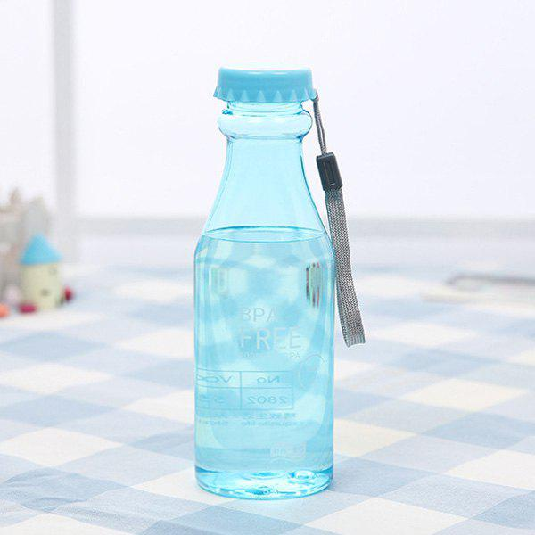 Portable Candy Color 550 ML Plastic Water Bottle With Cover - BLUE