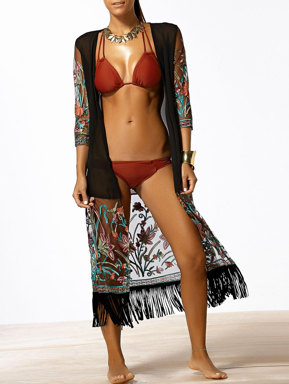 Floral Fringed Chiffon Swim Maxi Kimono Cover Up - BLACK 3XL