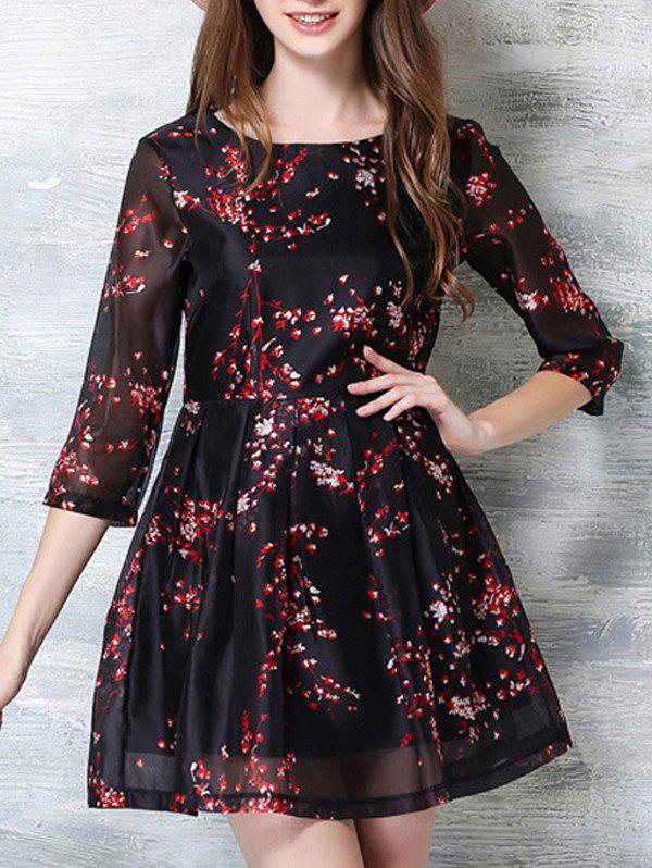 3/4 Sleeve Floral Print Party Dress - RED/BLACK L