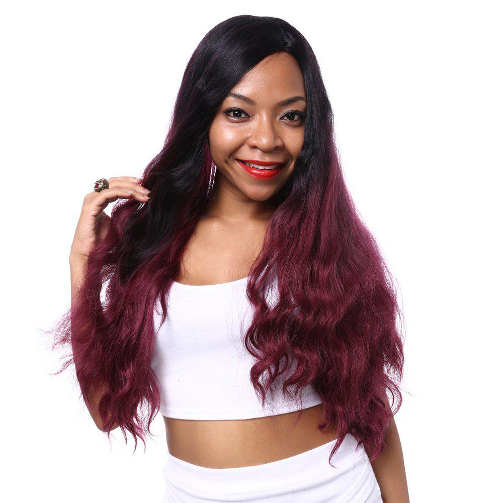 Attractive Long Wavy Mixed Color Side Parting Synthetic Hair Wig For Women