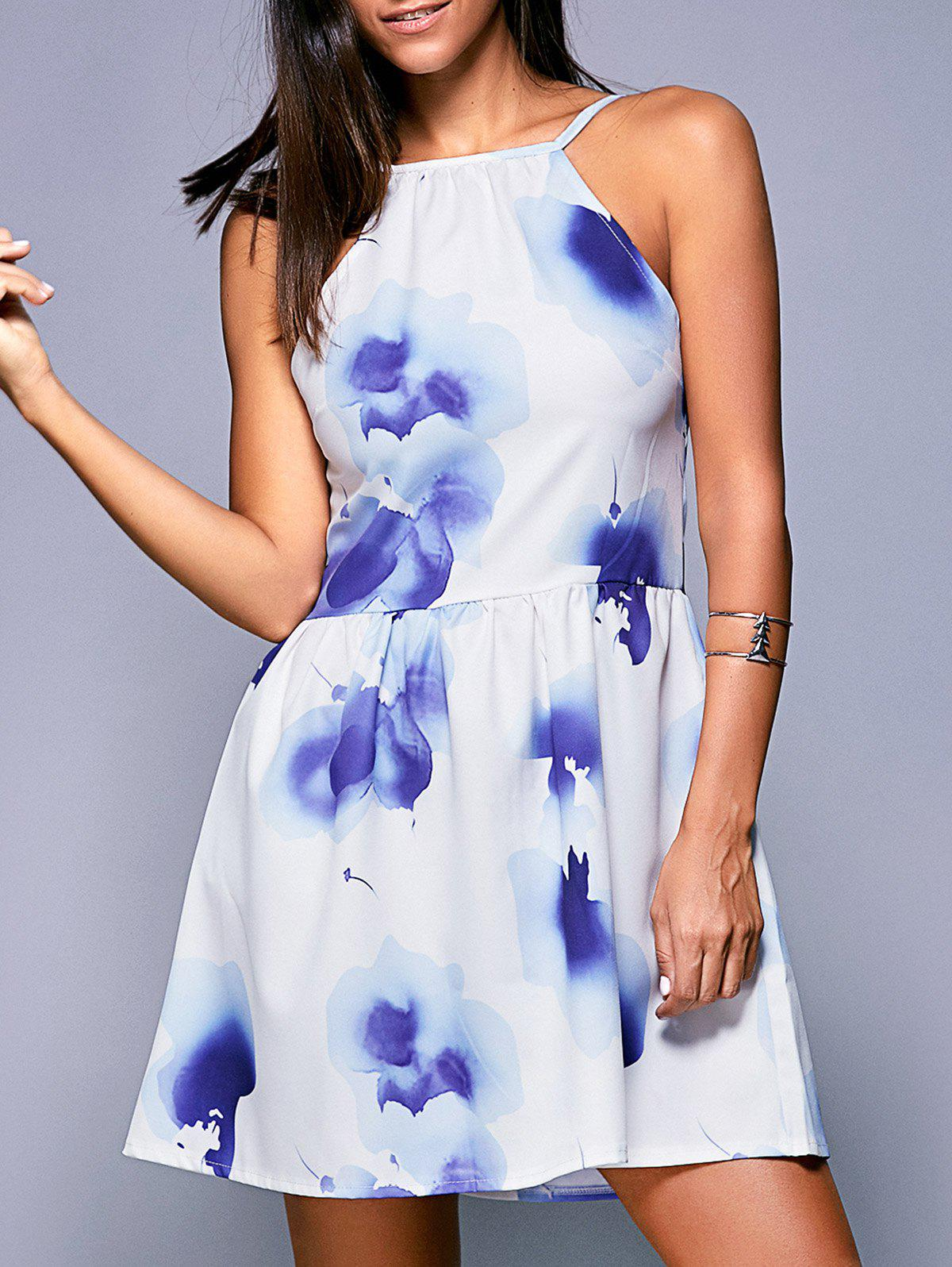 Wash Painting Backless High-Waist Dress