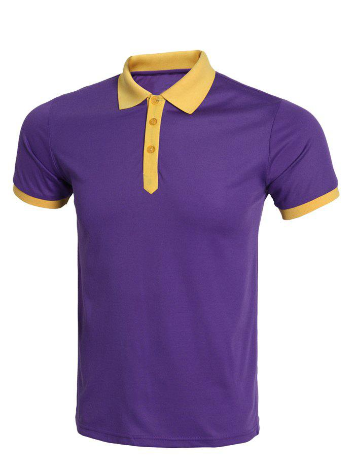 Casual Hit Color Spliced Short Sleeve Polo Shirt For Men - 3XL PURPLE