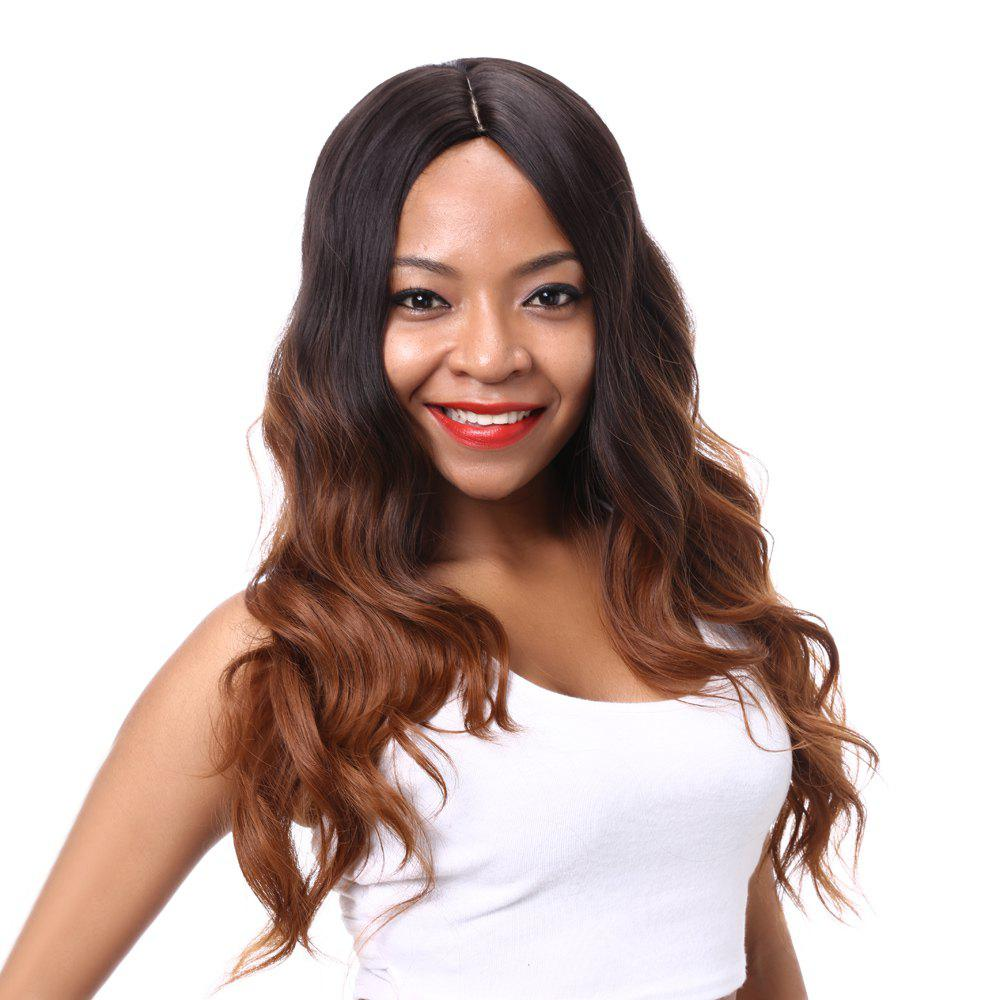 Vogue Long Wavy Mixed Color Middle Part Synthetic Hair Wig For Women - COLORMIX