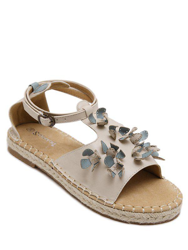 Leisure Straw and Floral Design Women's Sandals