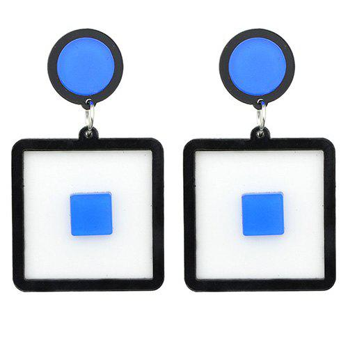 Pair of Square Drop Earrings - BLUE