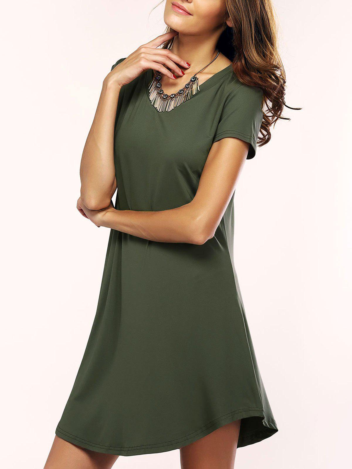 Brief Womens Solid Color Asymmetric T-Shirt DressWomen<br><br><br>Size: S<br>Color: ARMY GREEN