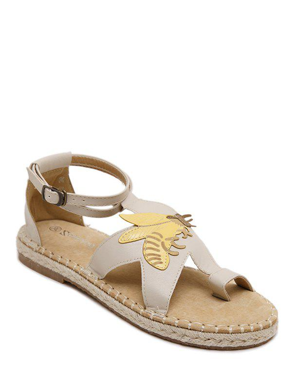 Casual Insect and Toe Loop Design Women's Sandals - OFF WHITE 37