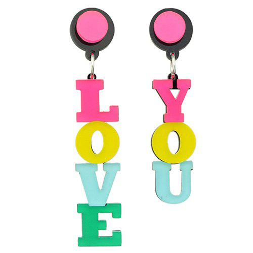 Pair of Asymmetric LOVE YOU Drop Earrings - COLORMIX