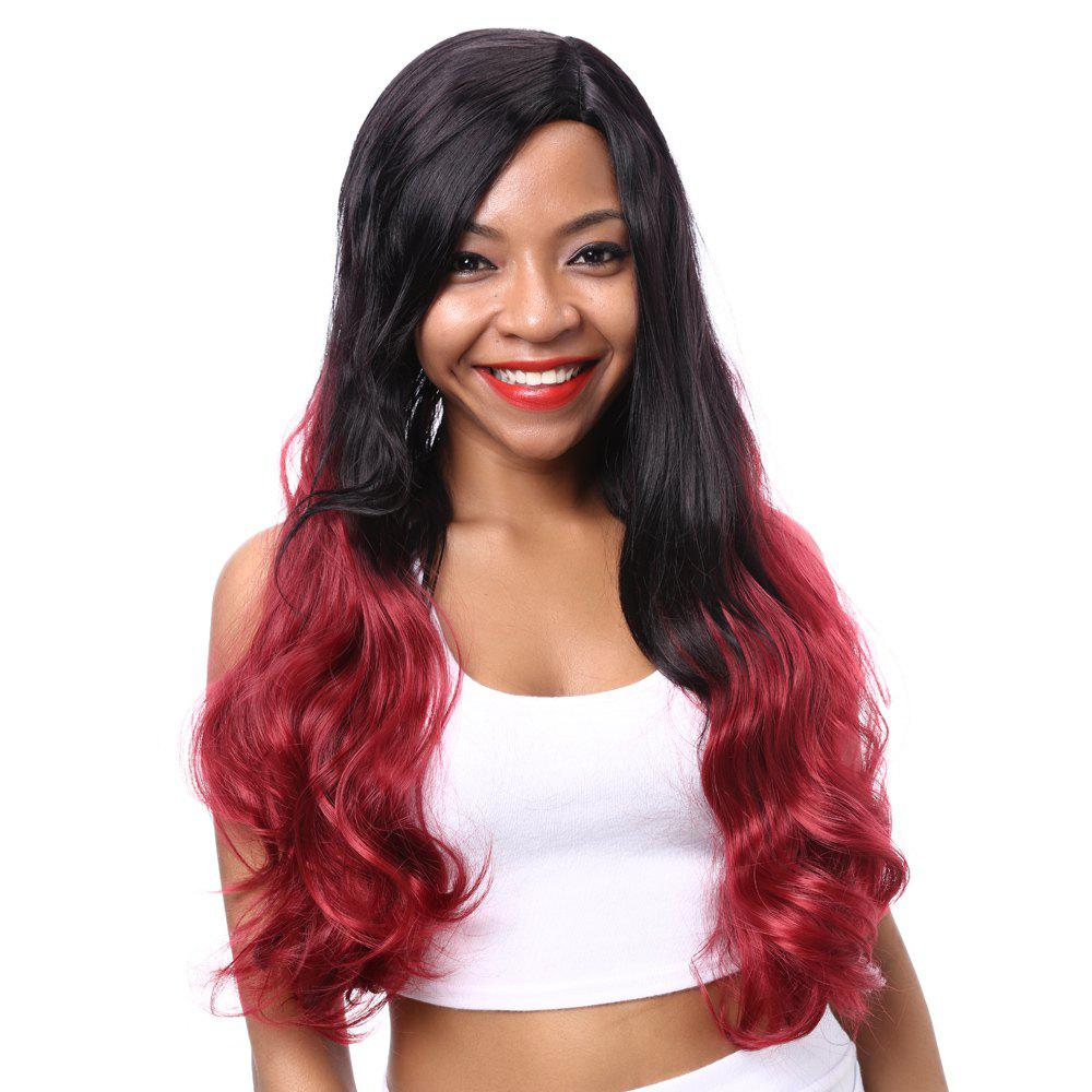 Gorgeous Long Wavy Mixed Color Side Parting Synthetic Hair Wig For Women - COLORMIX