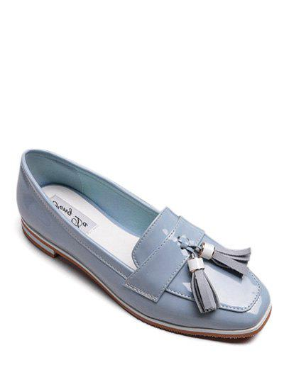 Preppy Tassel and Patent Leather Design Women's Flat Shoes - AZURE 39