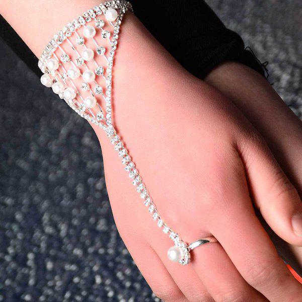 Elegant Faux Pearl Rhinestone Hollow Out Ring Bracelet For Women